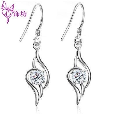 2013 New Angel Wings  Hoop earrings  925 Sterling Silver Earrings for Women Swiss Diamond Stylish Crystal Ear Pendant