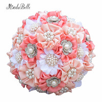 modabelle Beautiful Watermelon Coral Pearl Wedding Bouquet Brooches Beaded Bridal Bouquet Crystal Buque De Noiva Customized 2018