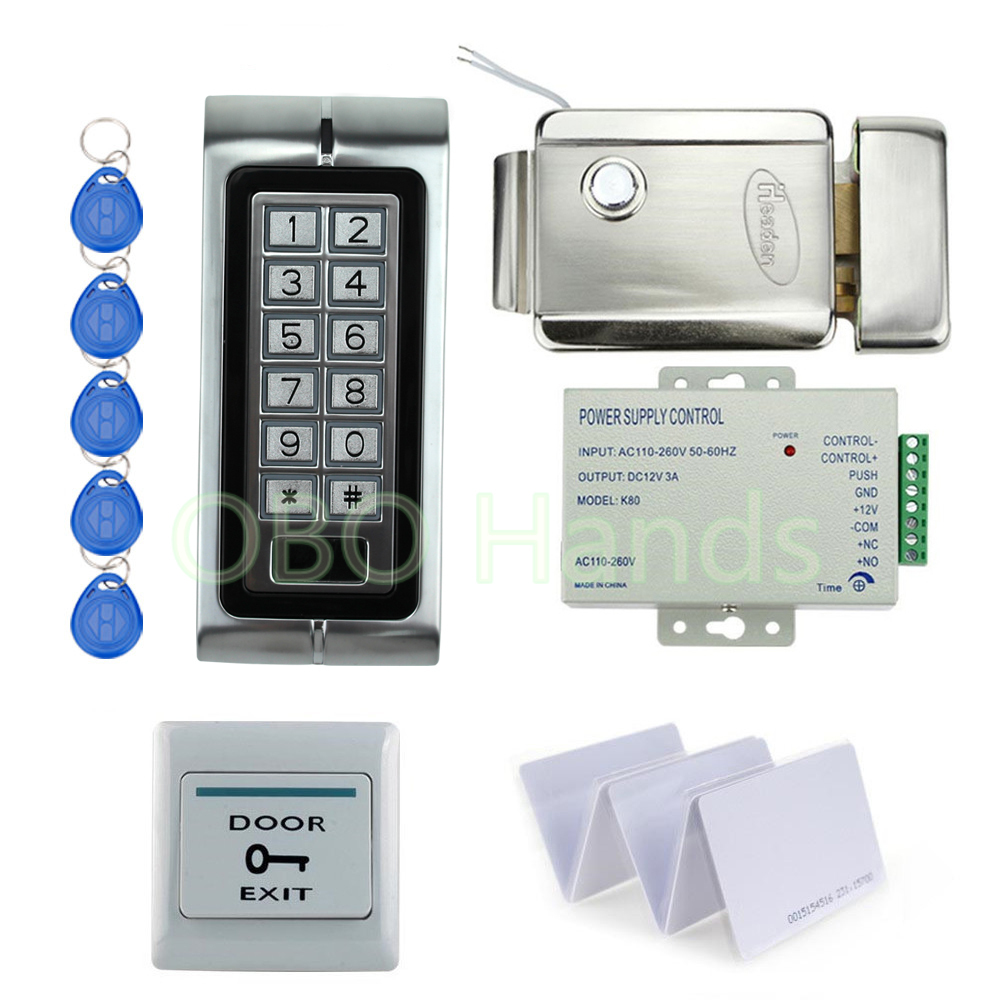 K2 Standalone EM125KHz RFID keypad Access control DIY kit set for Access control Door lock system metal control lock with cards backlight metal shell ip68 waterproof rfid 125khz em id smart card entry lock keypad standalone door access control system