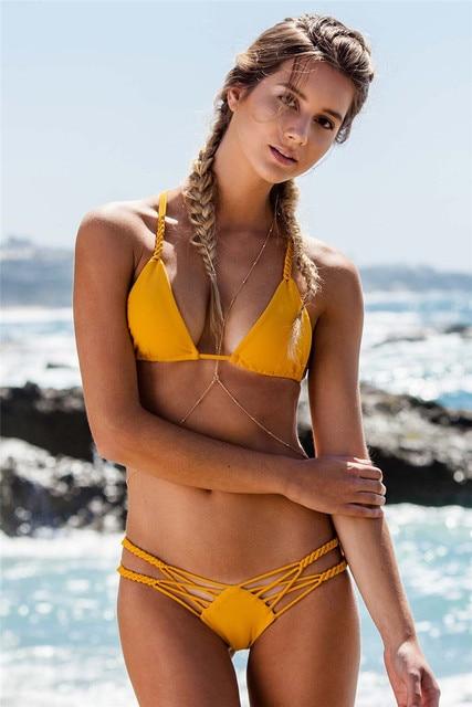 brazilian sexy micro bikini set yellow women low waist slip swimsuit