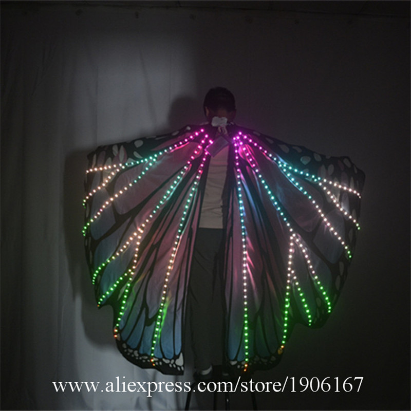 Ballroom dance led costumes luminous light dj dance colorful cloak butterfly wings catwalk perforamance dress clothe show dj02