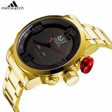 Мужские золотые модные повседневные спортивные часы будильник Дата Цифровые кварцевые часы с двойным дисплеем секундомер ремень светодиодный мужской военный часы
