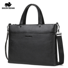 BISON DENIM Genuine Leather Men Bags 14 inches laptop Handba