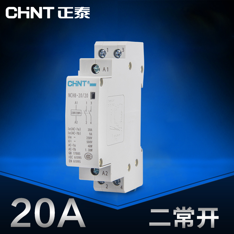 US $10.3 |CHINT Mini single phase Household Modular AC contactor 220V on