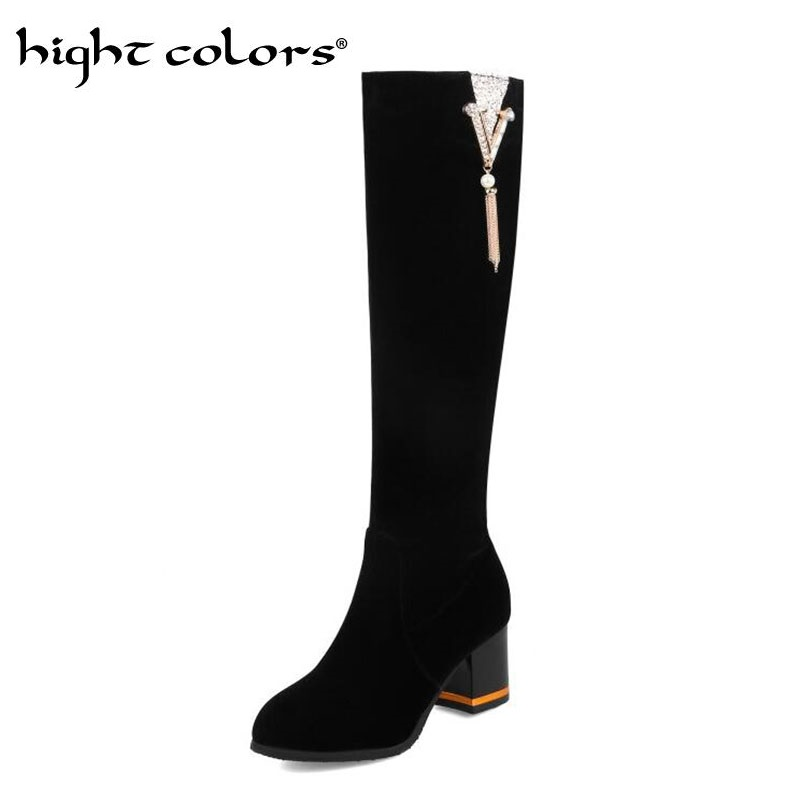 Spring Autumn 2018 New Knee-length Boots Skinny Thick Heel Suede High Long Boots Winter Women's Rhinestone Shoes Black Red knee rips skinny jeans
