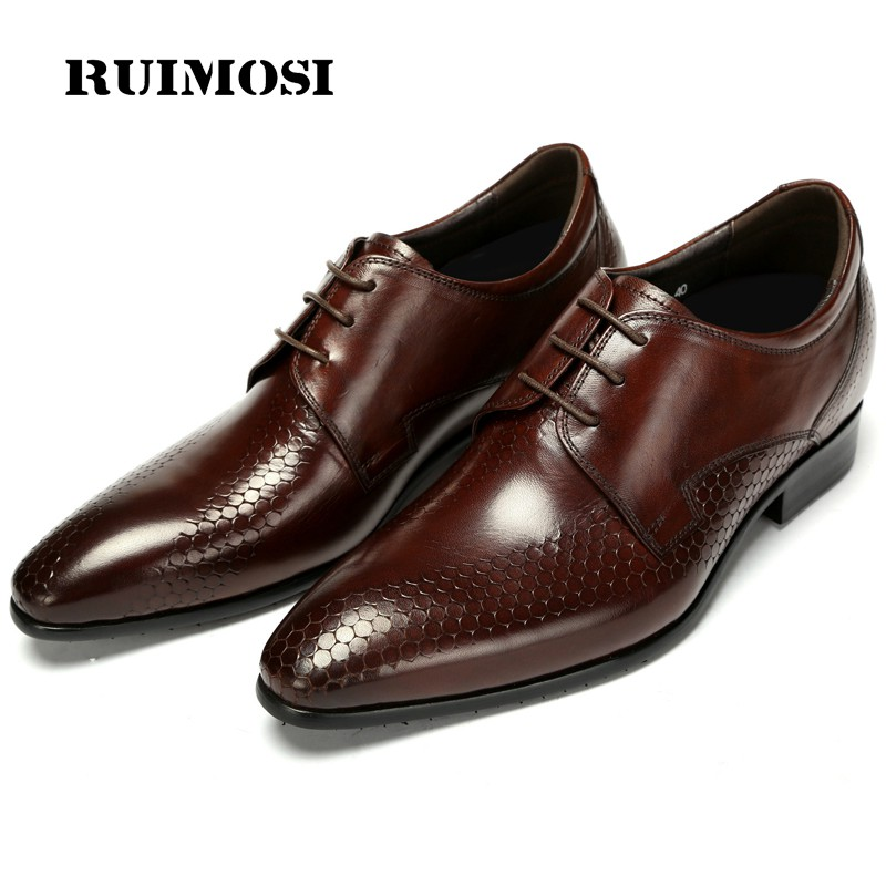 RUIMOSI Top Quality Brand Man Dress Shoes Genuine Leather Italian Designer Male Oxfords Handmade Pointed Derby Men's Flats CA35