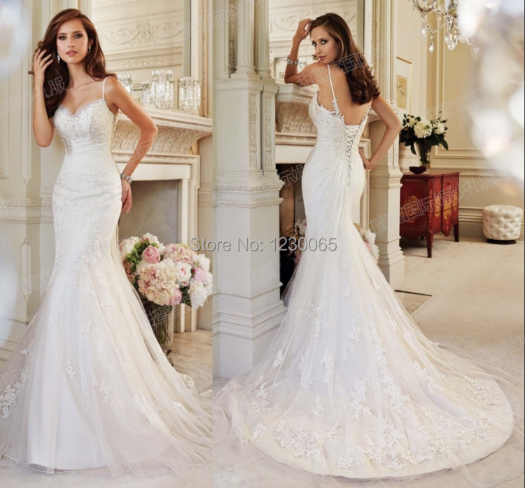 free shipping sexy long romantic beading lace appliques casamento vestido de noiva renda mermaid Bridal Gown   bridesmaid     dresses