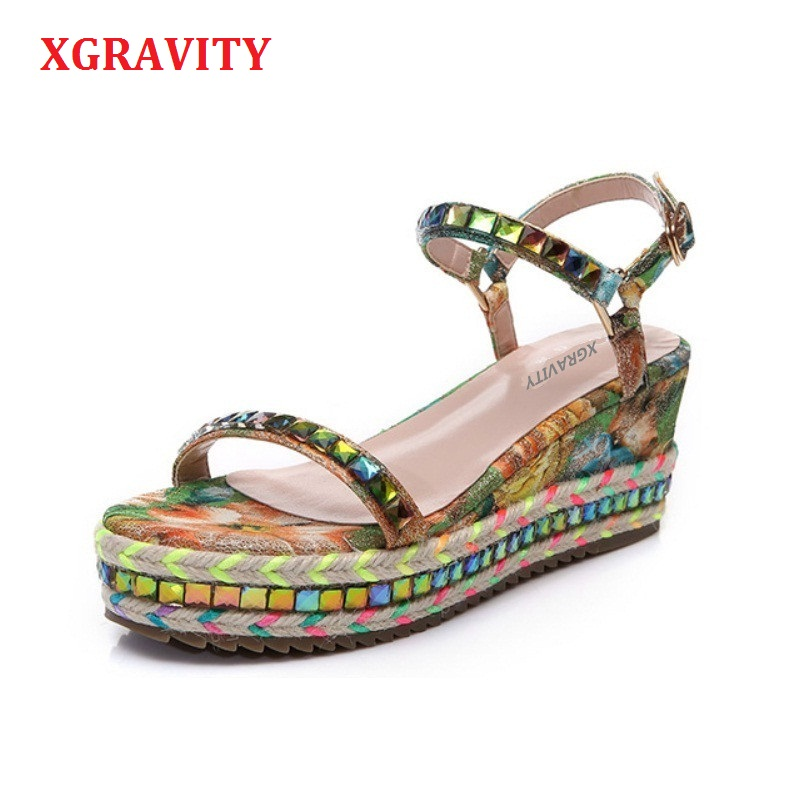 Size 34 40 Hot 2019 Summer Lady Fashion High Heel Wedge Sandals Elegant Flower Rivets Design