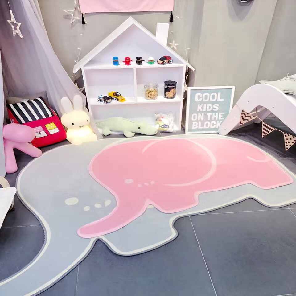 Elephant Shape Carpets For Living Room Children Bedroom Rugs And Carpets Kids Play Game Floor Mat Children Study Room Area Rug floor