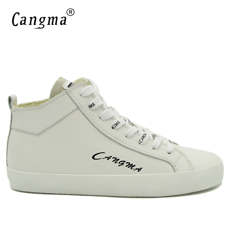 CANGMA Luxury Brand Sneakers Men Genuine Leather Male Casual Shoes Man's Breathable Comfort Footwear Platform White Shoes Mid