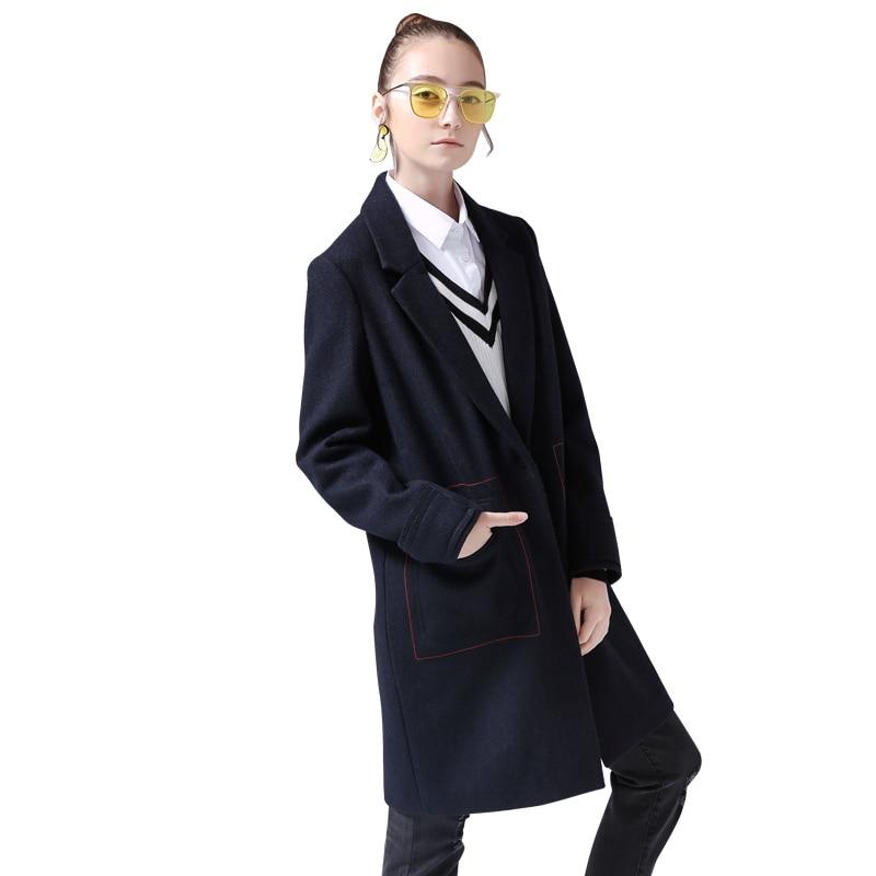 Nouveau Femme Grande Causal Poche Deep Col Toyouth Hiver Mince Revers Style Long Blue Manteaux Mélanges À B580xg8q