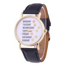 Moda Semanal Expresión Encantadora de Los Niños Muchachas de Los Muchachos de Cuero Reloj de pulsera de Cuarzo del Reloj de las Mujeres Reloj Pulsera Relogio Feminino
