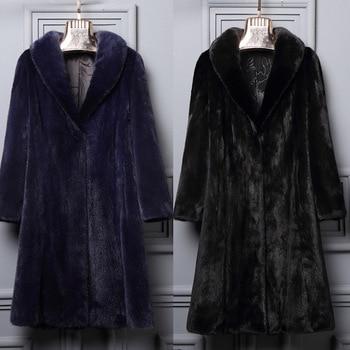 S-6XL New Fashion Velvet Mink Fur Overcoat Female Long Faux Fur Coat Slim Long Trench Coats Plus Size Winter Women Coat