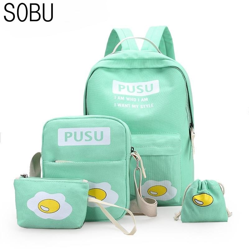 4Pcs/set Canvas Women Backpack Schoolbag Printing Cute egg School Bag Backpack For Teenager Girls for Russia Green Rucksack H020