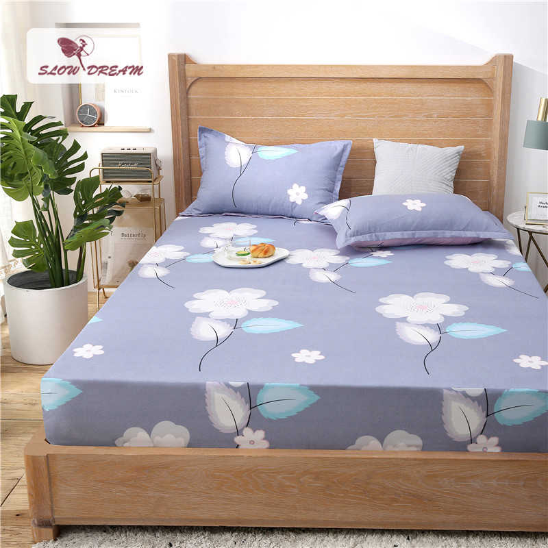 Slowdream 1PCS Flowers Fitted Sheet Adult Bed Sheets On Elastic Band With Rubber Sheet Double Single Mattress Cover Bed Linen
