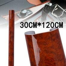 цена на 30*120CM Maroon High Glossy Sticker Car Internal Adhesive DIY Film Wood Grain Vinyl Decal Waterproof