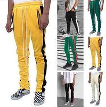 ZOGAA 019 Men Zipper Pocket  Zip Track Pants Long Drawstring Sweatpants Side Striped Patchwork Casual Retro Trousers Man Pants недорого