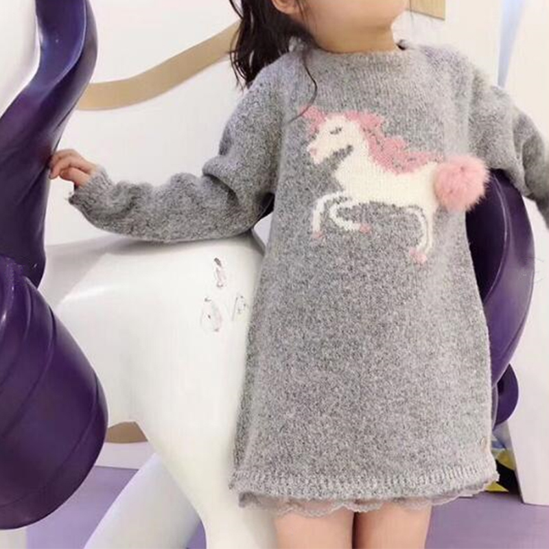 Kids Winter Warm Dress Fashion Girl Sweater Dresses Knitted Long sleeve Children Clothing Party Wear Dress in middle of Sep round neck ladies sweater dresses cotton knitted 2018 summer womens mini dresses long sleeve party dress robe longue femme q1