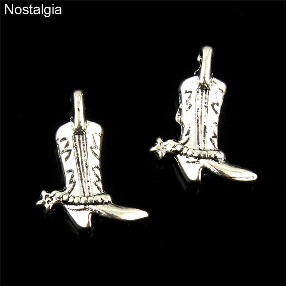 Nostalgie 10 Pcs Westerse Boot Tibetaans Zilveren Schoenen Charm Cowgirl Laarzen Hangers Sieraden Maken 18*12 MM