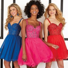 Sexy Pink Homecoming Kleider mit Spaghetti-trägern Schatz A-line Chiffon Sparkly Royal Blue Cocktail Party Kleid 40