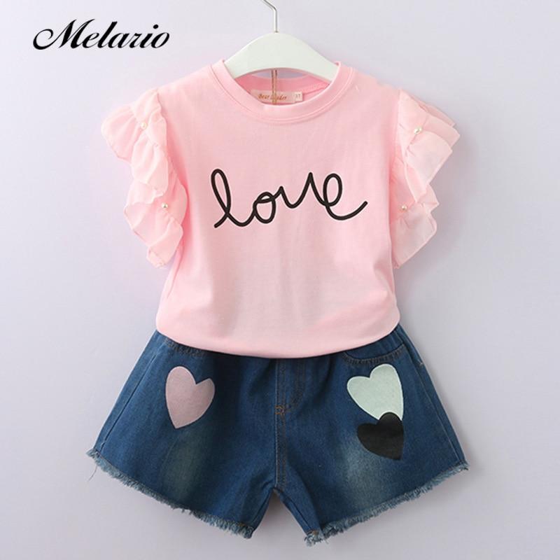 2bdd2eb47 Melario chicas ropa 2019 marca de moda de verano conjuntos de ropa para  niños sin mangas T-shirt + Plaid pantalones 2 piezas traje de niñas