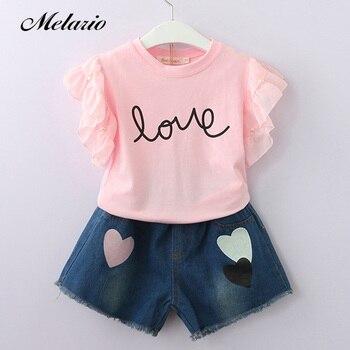 f74aee034 Melario chicas ropa 2019 marca de moda de verano conjuntos de ropa para  niños sin mangas T-shirt + Plaid pantalones 2 piezas traje de niñas
