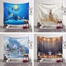 купить Newest Christmas Eve Decoration Wall Blanket Bear Gifts Pattern Star Lamp Snowman XMAS Wall Hanging Tapestry Bed Sheet Sofa Mat дешево