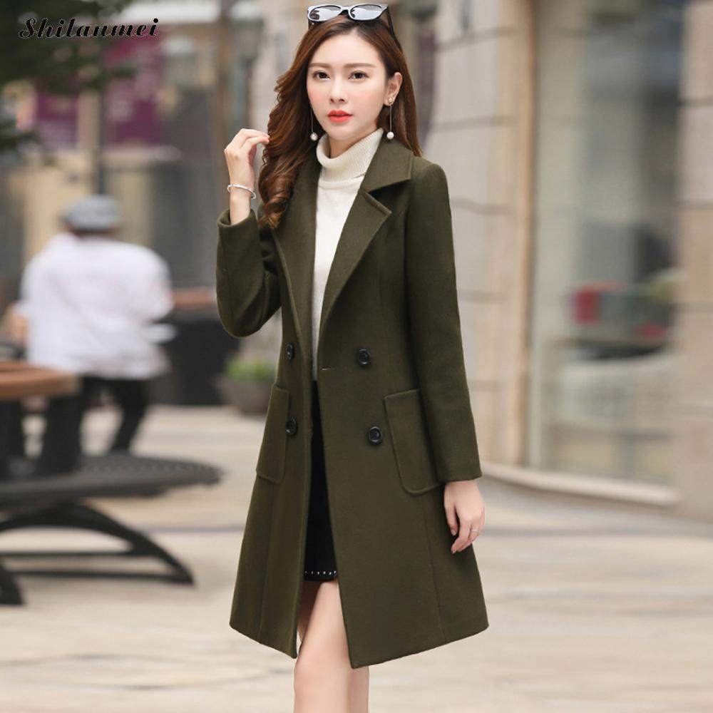 Plus Size 4xl Autumn Winter Woman Wool Coat Fashion Thermal Female Women Long Thick Jacket Outwear Overcoat New Solid