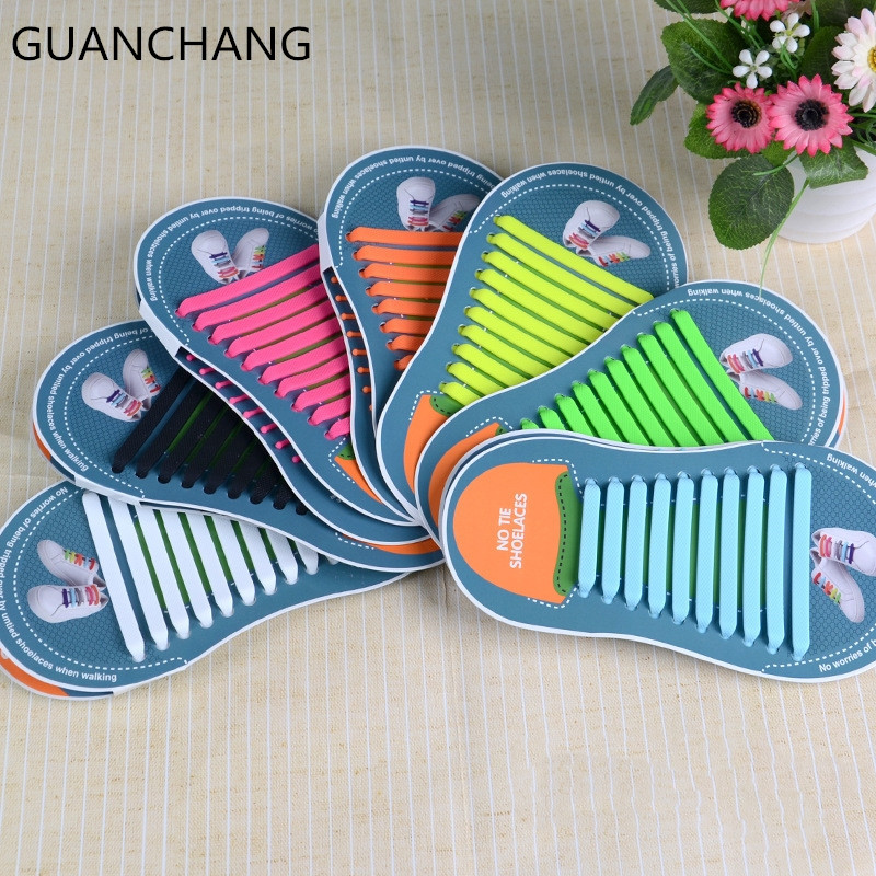 Silicon Laces Lazy Elastic Silicone Shoelaces Unisex Elastic Shoelace T-tie Creative No Tie Rubber Child Reflection Dropshipping