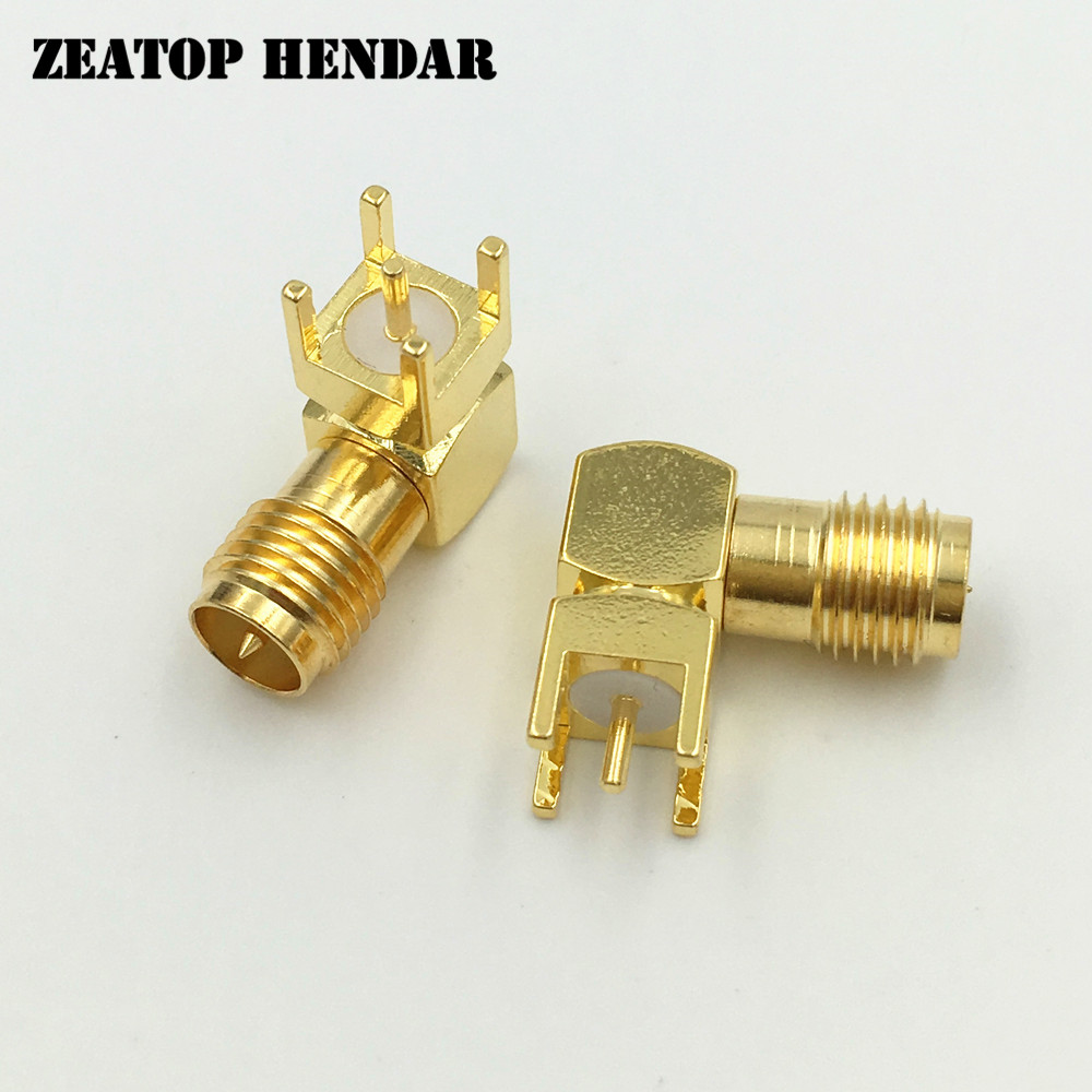 200Pcs Brass RP SMA Female Right Angle Jack 4 Leg PCB Mount Plug Straight RF Coaxial