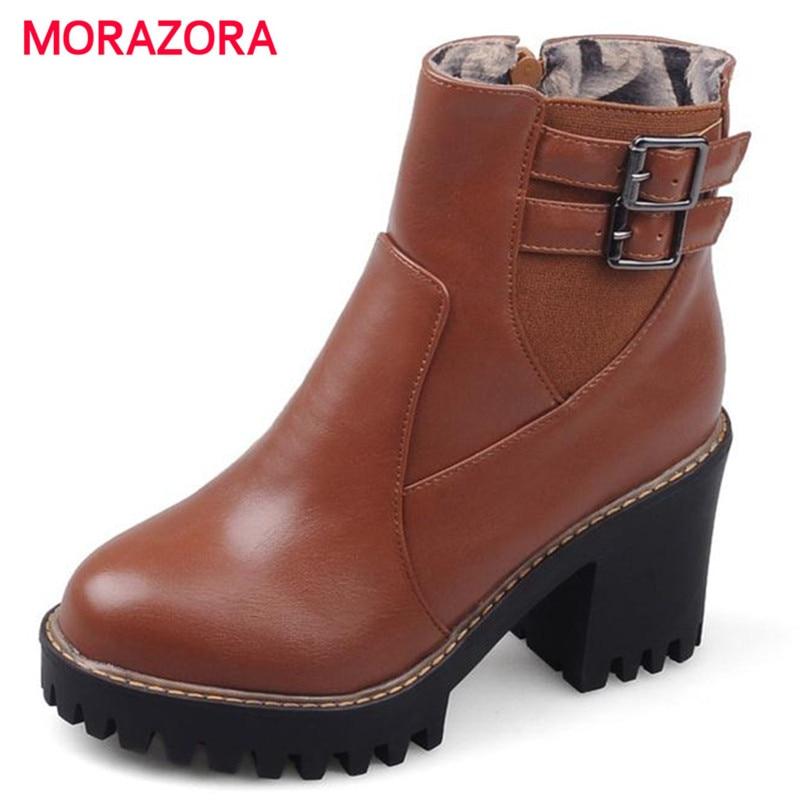 2535304a20c75 MORAZORA كبير حجم 34-43 pu الكاحل الأحذية مشبك الصلبة البريدي عالية الكعب أحذية  للنساء في الربيع الخريف منصة الأحذية