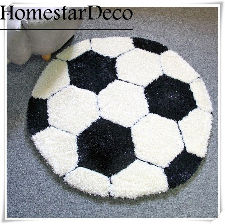 Shaggy Football Rug: Logo Custom 3D Carpet Shaggy Round Rug Black And White