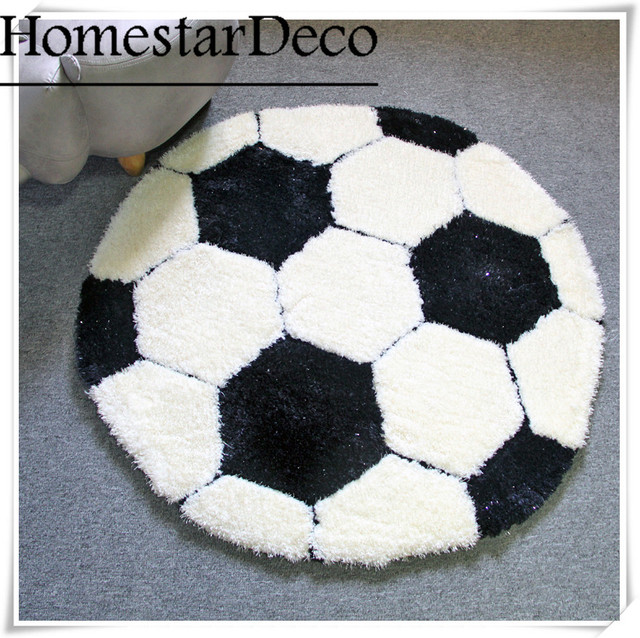 Logo Custom 3d Carpet Shaggy Round Rug Black And White Football