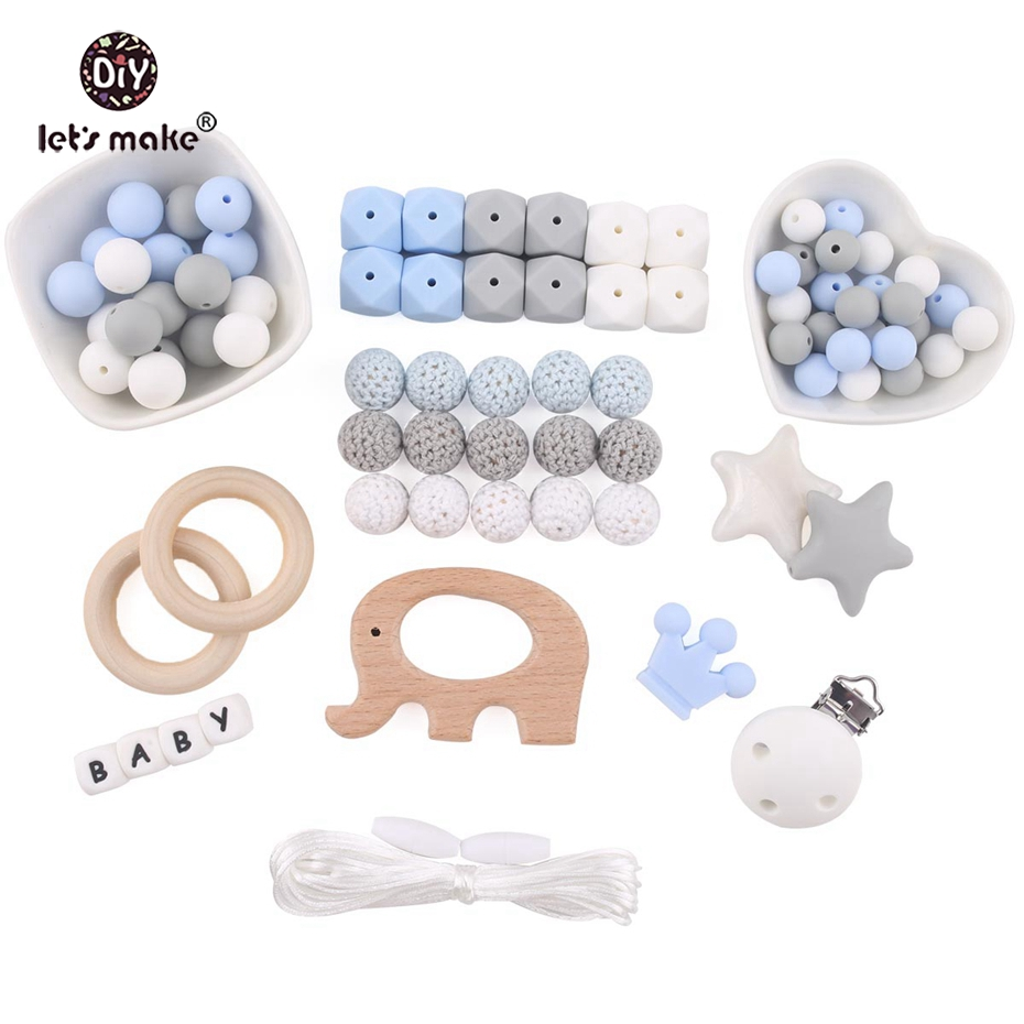 Let's Make Silicone Bead Set DIY Boy And Girls Teething Necklace Nurse Bracelets Baby Teether Crochet Beads Beech Wooden Animals