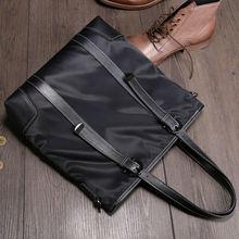 NEW XuanWei Soft & Light & Big Capacity Men Briefcase Waterproof Nylon with Genuine Leather Handbags