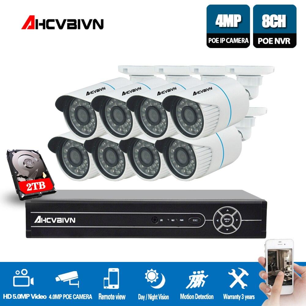 AHCVBIVN 8CH 5MP 1080 p CCTV Caméra Système POE NVR Kit 4 k HDMI 4.0MP Extérieure de Sécurité IP Caméra P2P vidéo Surveillance Système Ensemble