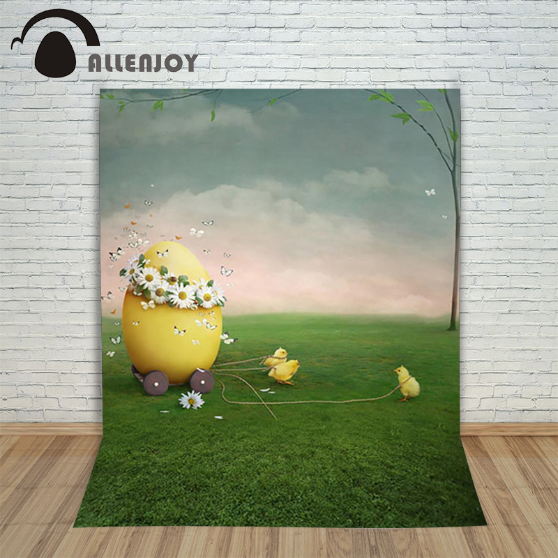 Allenjoy Easter backdrop eggs Chickens Butterfly Lawn Flowers Tree Sky children backgrounds for photo studio background