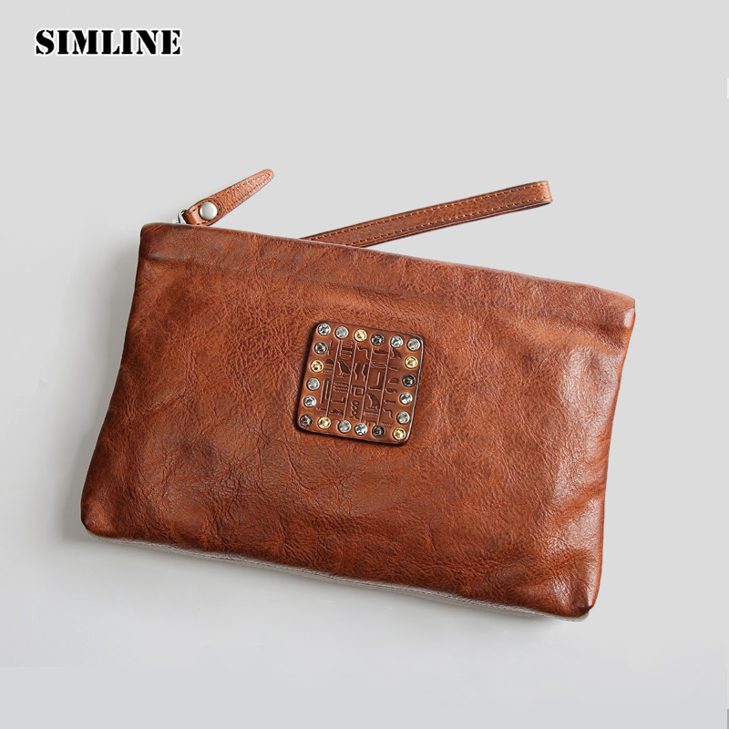 Luxury Brand Vintage Fashion Genuine Cow Leather Clutch Bag Men Male Zipper Phone Wallets Card Holder Handy Bags Men's Clutches fashion zipper clutch bag handbag day clutches women cow leather cartoon printing long purse card holder wallets girl bags
