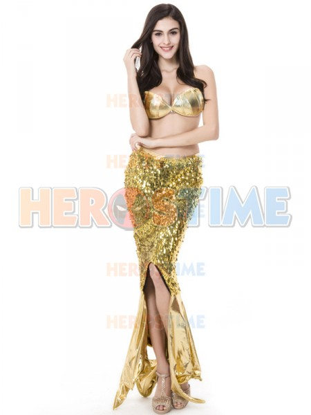 Fashion Sexy Mermaid Sequin Bikini Halloween Costume Fancy Dress
