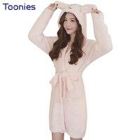 봉제 섹시한 여성 겨울 밤 드레스 포켓 잠옷 무릎 잠옷 따뜻한 핑크