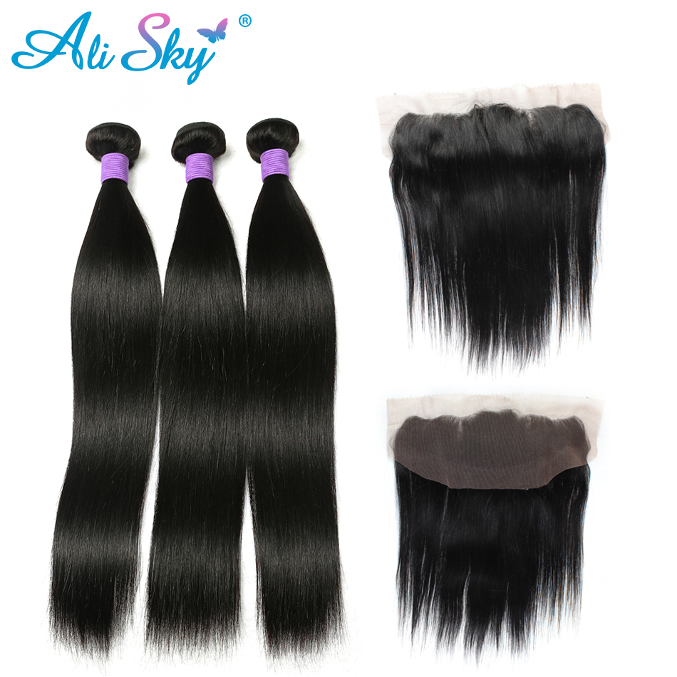 Human Hair Weaves Systematic 3 Bundles Brazilian Straight Hair With Pre Plucked Lace Frontal 13x4 Ear To Ear Free Part With Baby Hair Ali Sky Non Remy Hair Extensions & Wigs