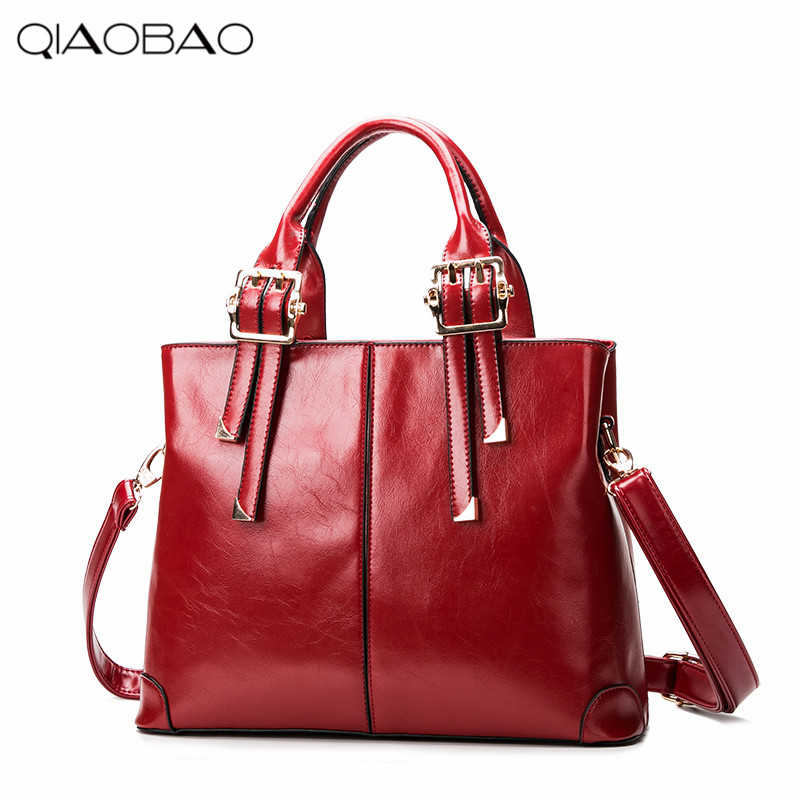 QIAOBAO 2017 New Fashion Women Leather Bags Wax Leather Ladies Retro Shoulder Bag Crossbody Bag Vintage