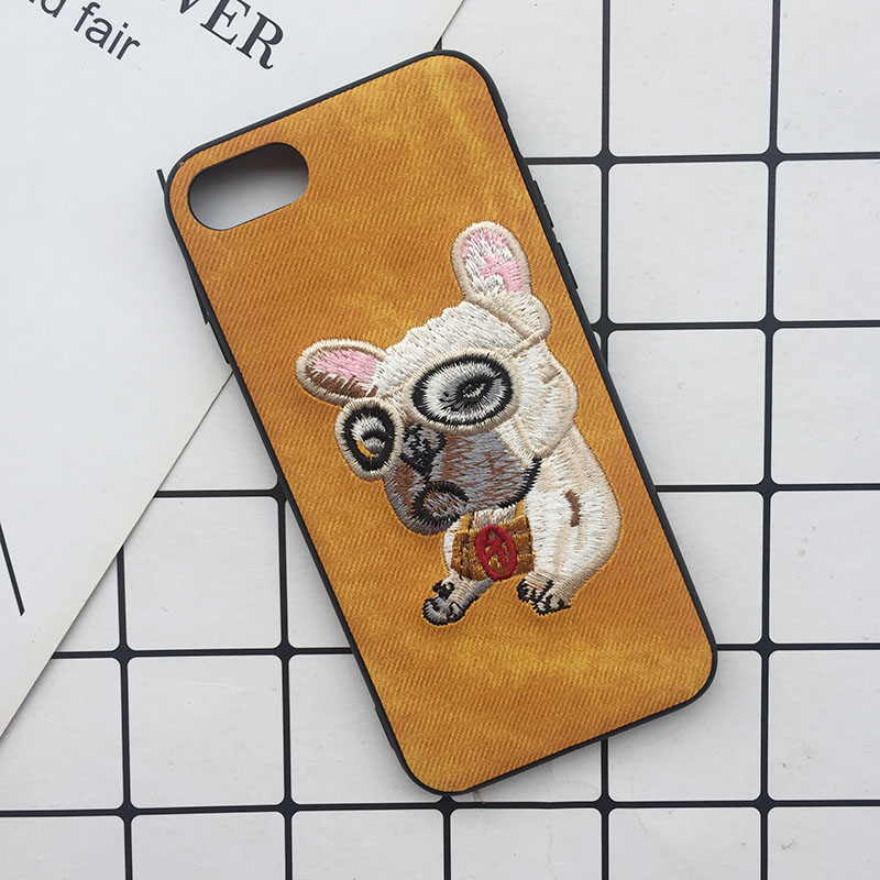Tfshining Cute 3D Embroidery Cover Case For iPhone XS Max XR X 6 6s 7 8 Plus Soft Full Dog Teddy Pug Husky Dog Mobile Phone Case (6)
