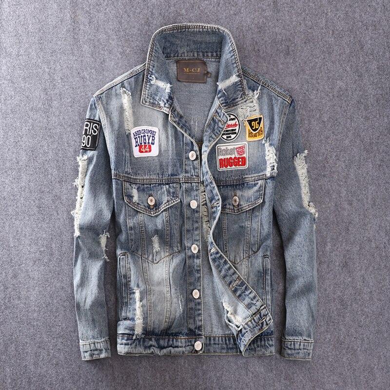 American Streetwear Fashion Men Jacket Blue Color Patches Spliced Cotton Coats Ripped Denim Jacket Men Hip Hop Jacket Masculina