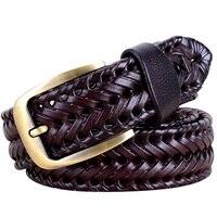 New 2017 Weaving Design Leather Belts For Men Women Single Needle Buckle 3 Colors Woven Genuine