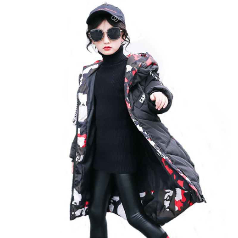 Girls Cotton Coat 2018 New Winter Girl Outerwear Thick Warm Girl Parka Casual Long Children Clothes For Kids aged 5-13 LK162 girl winter coat 2018 fashion children warm hooded jackets girls cotton padded long parka outerwear kids casual thicken clothes