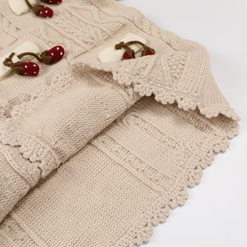Imprimer 2019 Chaud Grâce Motif Vintage Originale Cardigan Beige Tricoté Gloria Pull Et Conception Automne Hiver Fraise Sweat rUOrqz