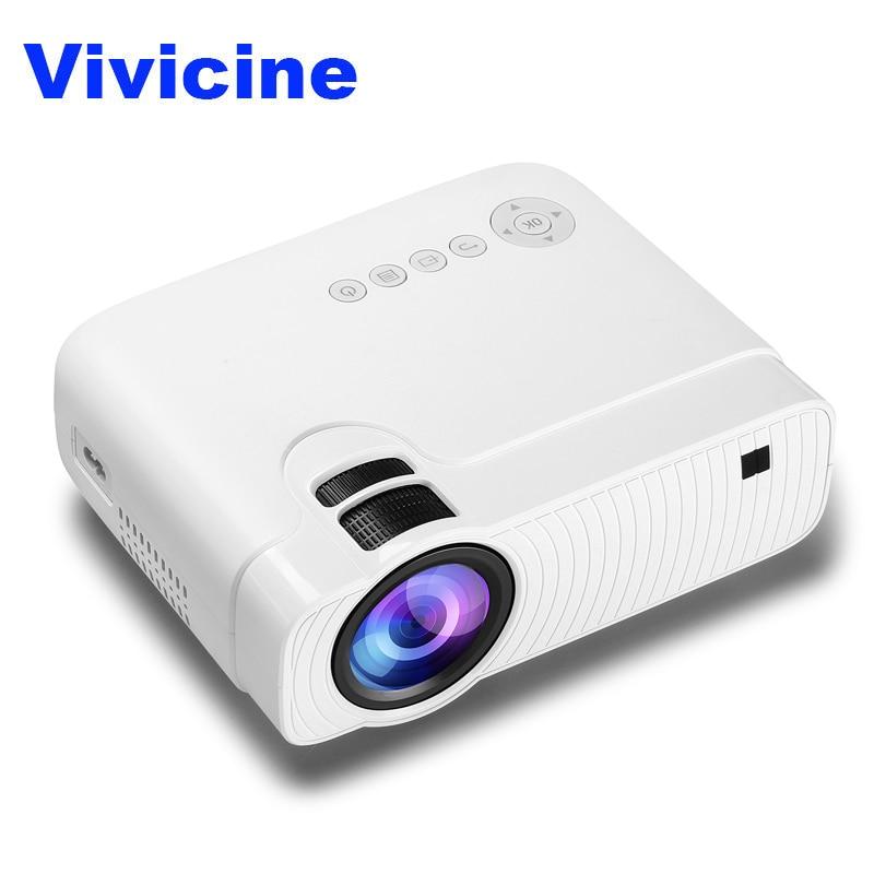 Vivicine Haute luminosité Portable LED Mini Projecteur, En Option Android 7.1.2 Wifi HD PC Home Cinéma Jeu Vidéo Proyector Beamer