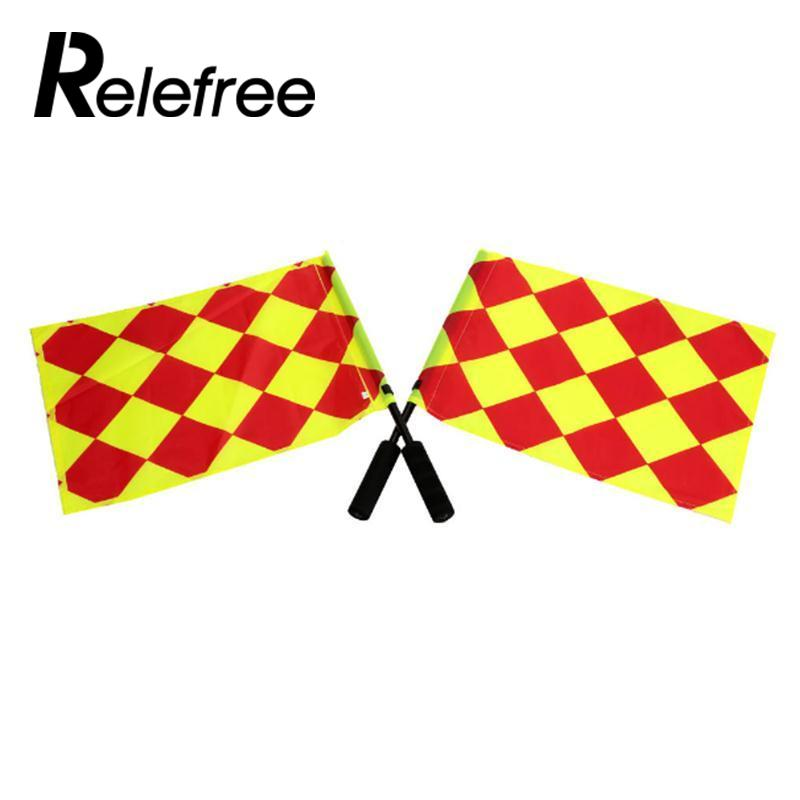 Relefree 2pcs Soccer referee flag Fair Play Sports match Football Linesman flags with bag Referee equipment