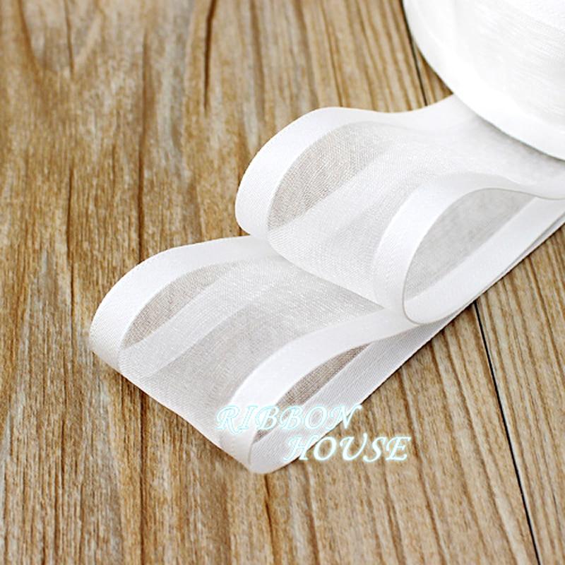 (5 м/рулон) 38 мм белая широкая лента из органзы оптовая продажа подарочная упаковка украшения ленты